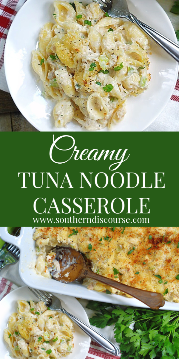 Creamy delicious goodness is what you get with this easy recipe for Cheesy Tuna Noodle Casserole. Homemade with simple ingredients and no cream soup from a can. #tunacasserole #comfortfoodrecipe #familycasserole