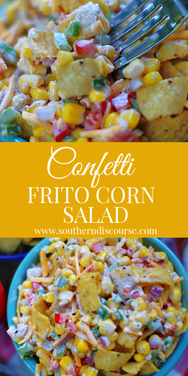 Both creamy & crunchy with bursts of flavor and color, Confetti Frito Corn Salad with bell pepper, onion, cheese, corn and Frito Corn Chips is a classic potluck side dish. #easysalad #potluckrecipe #easysidedish #cornsalad