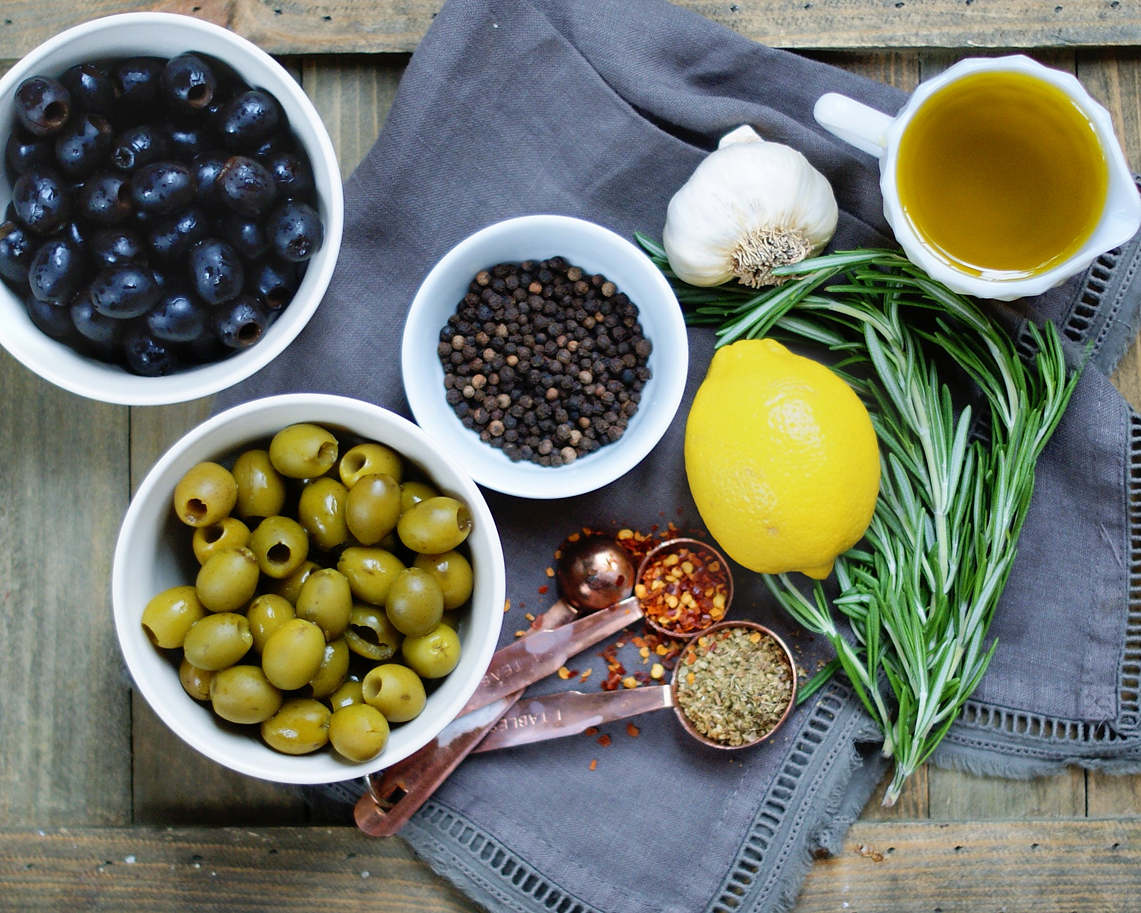 Ingredients for Easy Homemade Marinated Olives