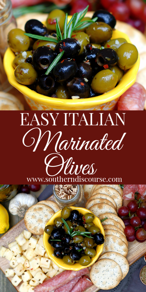 Soaked in an olive oil marinade that's been infused with loads of garlic, lemon, fresh herbs and a red pepper kick, these easy homemade Italian marinated olives make for a wonderful appetizer or addition to any cheese board. #oliverecipe #whattoaddtoacheeseboard #marinatedolives #easyappetizerrecipe