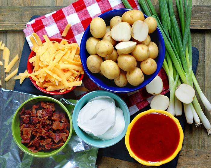 Cheesy BBQ Bacon Potato Foil Packets Ingredients