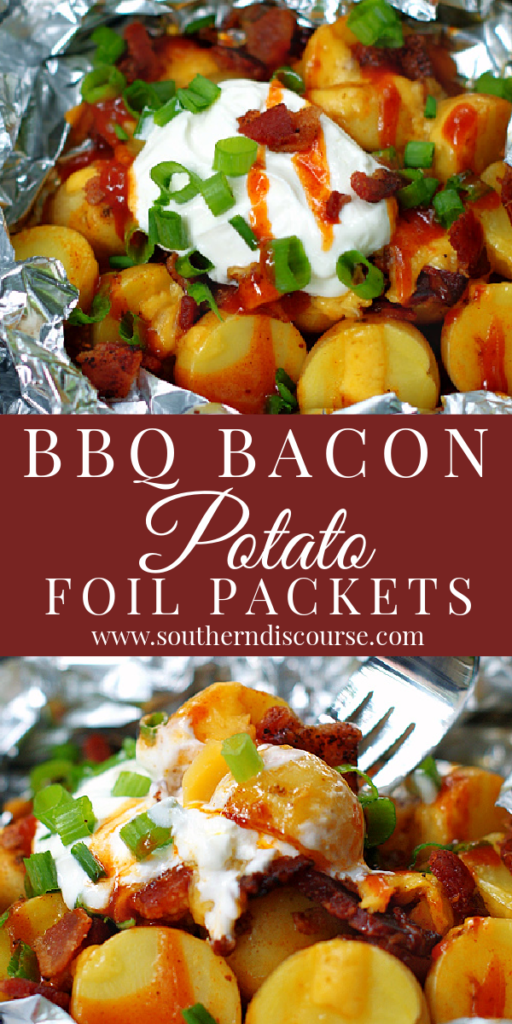 Mouthwatering cheesy potatoes loaded with bacon and cooked with your favorite BBQ sauce in foil packets makes the ultimate side dish with no clean up! Perfect for the oven, grill, even a campfire!
