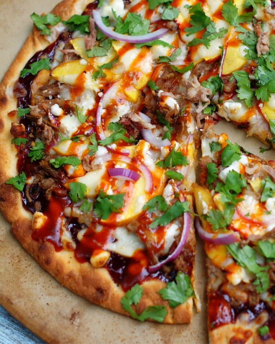 BBQ & Pulled Pork Pizza close up