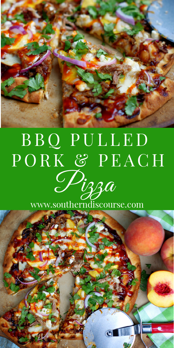 This easy recipe puts gourmet pizza at your finger tips! Layers of cheese, BBQ pulled pork, fresh peaches, red onion, cool cilantro mozzarella and goat cheese create the perfect easy dinner!