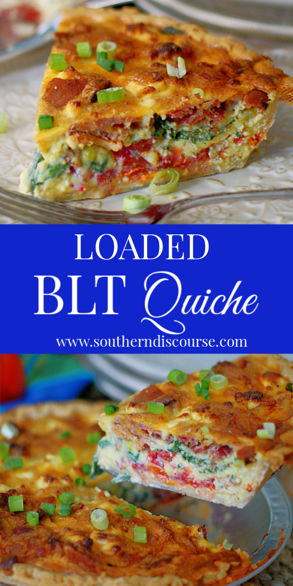 This easy breakfast quiche is also great for brunch and dinner! Loaded with bacon, tomatoes, spinach, green onions, feta and cheddar cheese, it's one delicious BLT! #southerndiscourse #easymeals #quicherecipe #bltrecipes #eggrecipes