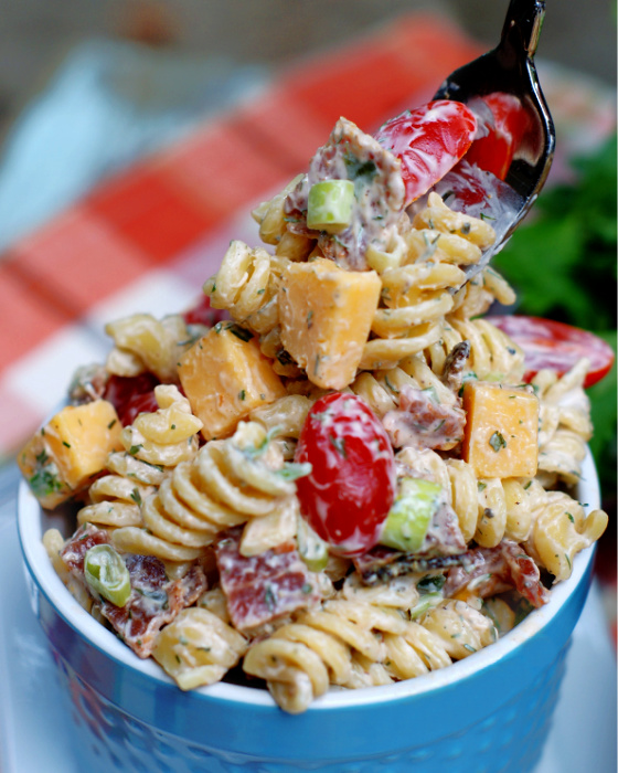 A forkful of Bacon Tomato Pasta Salad