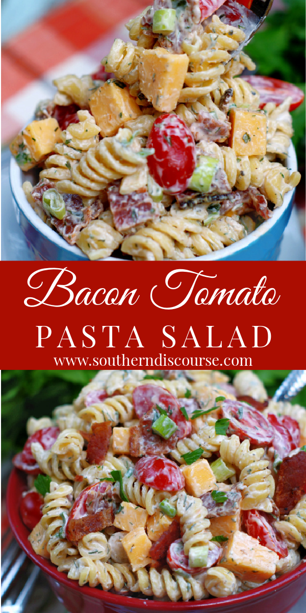Inspired by the classic BLT, this easy recipe ups your pasta salad game with rotini pasta, grape tomatoes, thick sliced bacon, green onions, cubes of sharp cheddar & a simple homemade Ranch dressing!