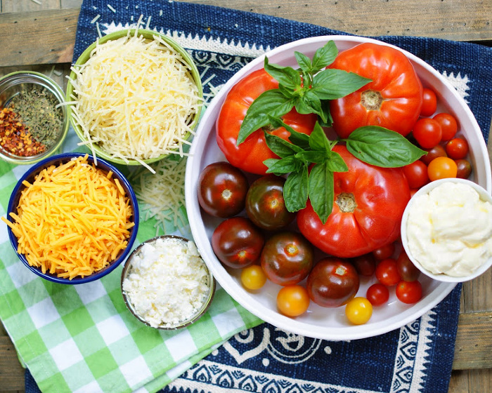 Heirloom Tomato Pie ingredients