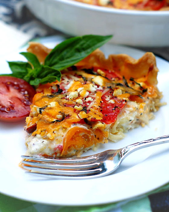 Heirloom Tomato Pie on a plate