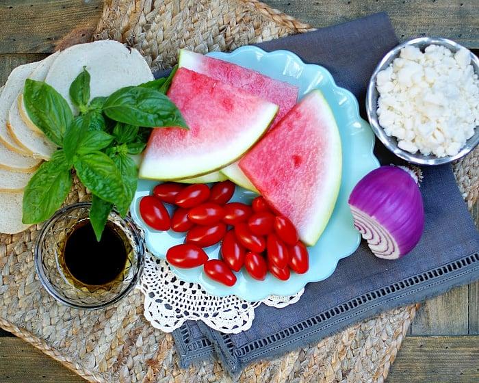 Tomato & watermelon bruschetta ingredients