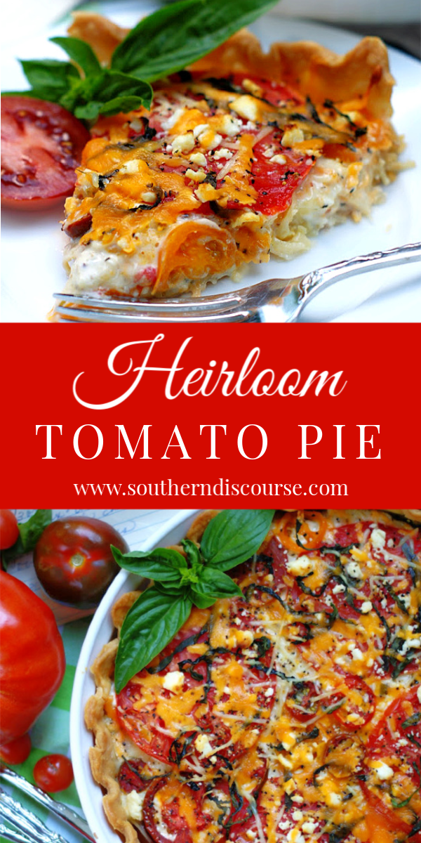 An easy recipe for a true Southern classic, Heirloom Tomato Pie is loaded with beefsteak & cherry tomatoes, along with fresh basil, onion, & 3 cheeses for the best slice of pie this side of summer!