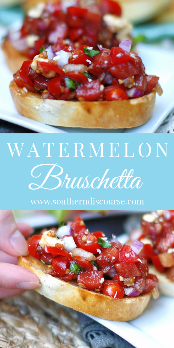 An easy recipe for homemade bruschetta with a summer twist! Sweet watermelon, grape tomatoes, red onion, fresh basil, feta and a balsamic dressing make the perfect appetizer! Serve it on crusty bread or as a dip! #appetizer #summerappetizerrecipe