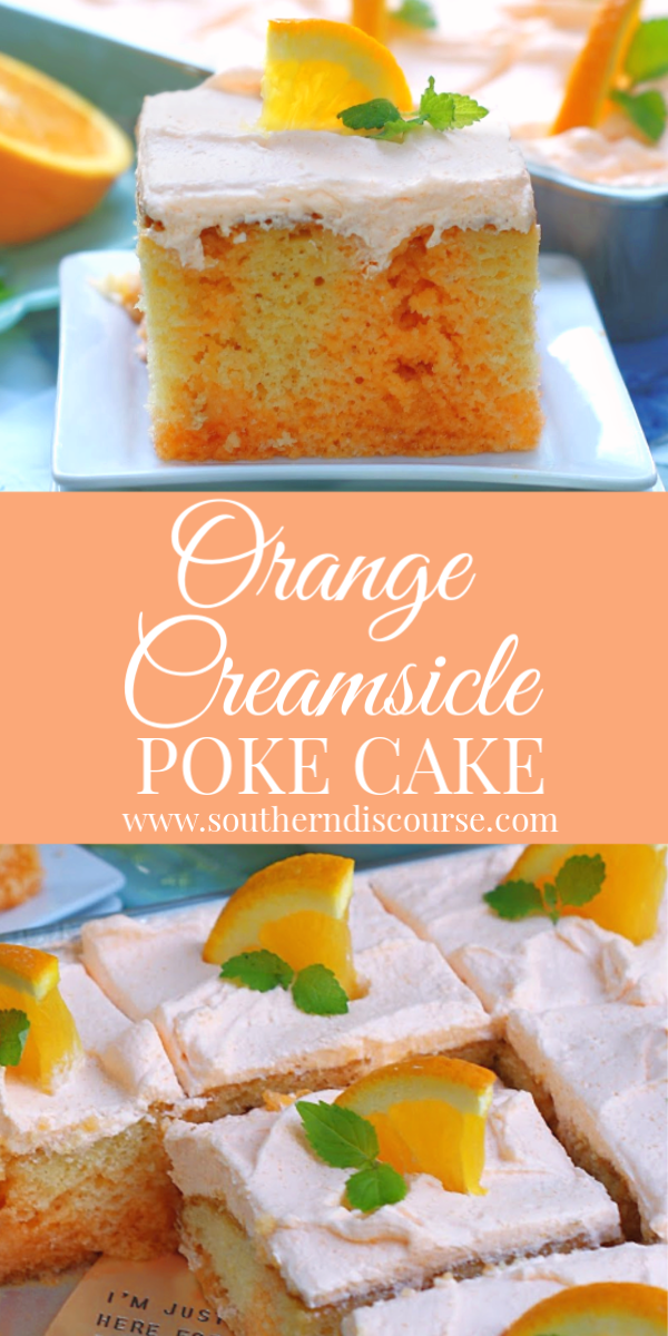 This easy sheet cake recipe is a light & refreshing citrus dream with extra orange flavor from orange soda, orange jello and and 2 ingredient fluffy orange whipped topping! #summerdesserts #orangepokecake #dreamsicle #easycake