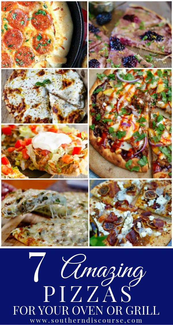 7 amazing pizzas recipes for your oven or grill. Enjoy delicious gourmet style pizza with delicious crust whenever you get the craving!