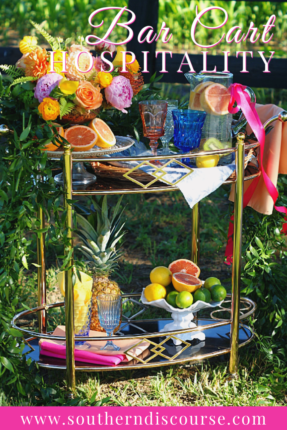 Bar Carts are undeniably versatile, fabulous and reach way beyond cocktail hour. Discover how to use them for parties or everyday hospitality. #nonalcoholic