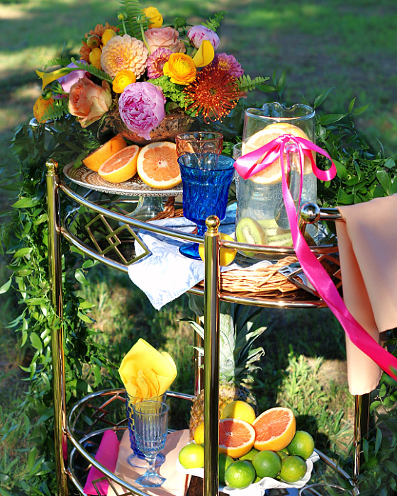 How to style a bar cart for a party side view