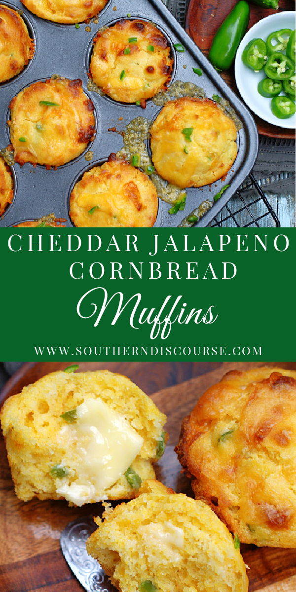 This easy recipe for Homemade Cheddar Jalapeno Cornbread Muffins is so easy to follow. Plenty of cheesy goodness, just the right amount of jalapeno kick baked right into moist tender, cornbread.