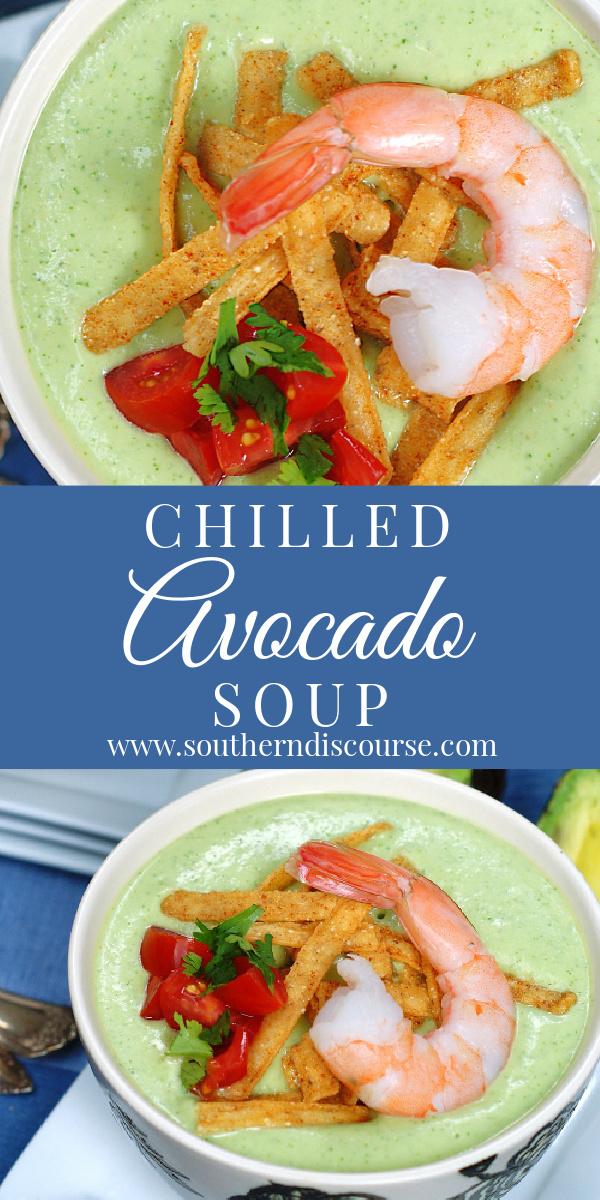 An easy no cook recipe for a spicy & refreshing chilled avocado soup made with sour cream, chicken broth, lime, cumin, cool cilantro and cucumber.