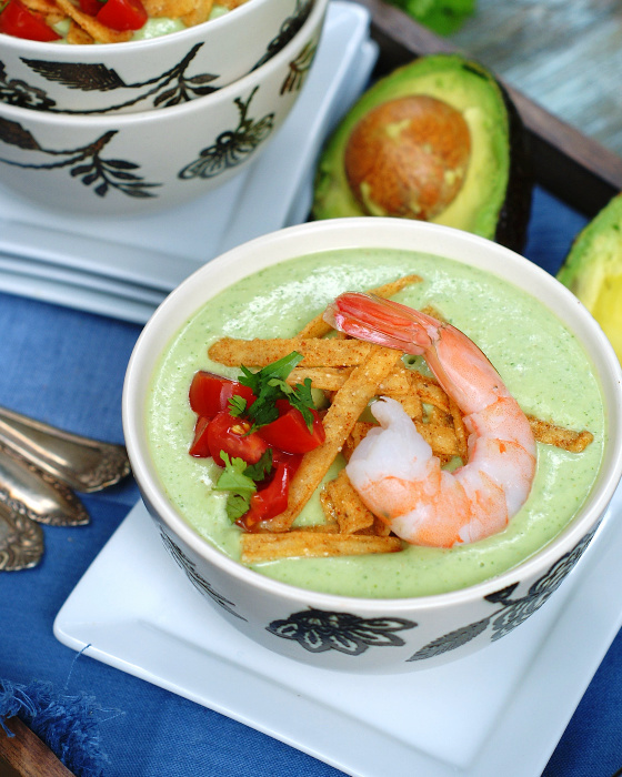 Chilled Avocado Soup with shrimp and tortilla strips