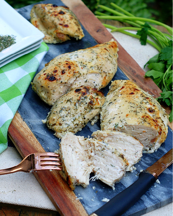Oven Roasted Buttermilk Chicken breast sliced