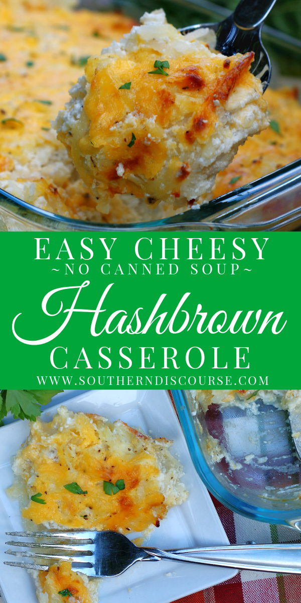 Loaded with melted cheese, sour cream and seasonings, this easy shredded hashbrown casserole is the perfect potato side dish for breakfast, brunch, holiday, even weeknight dinners. Super creamy & delicious without using canned soup!