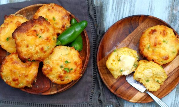 Easy Cheddar Jalapeno Cornbread Muffins