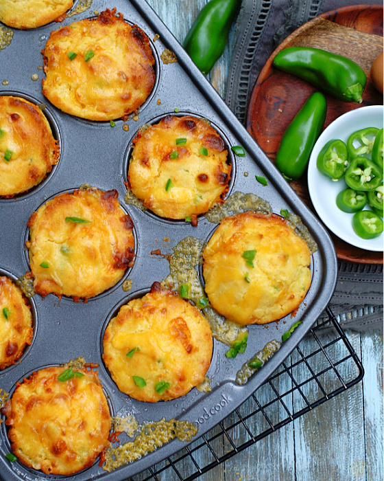 Cheddar Jalapeno Cornbread Muffins from oven
