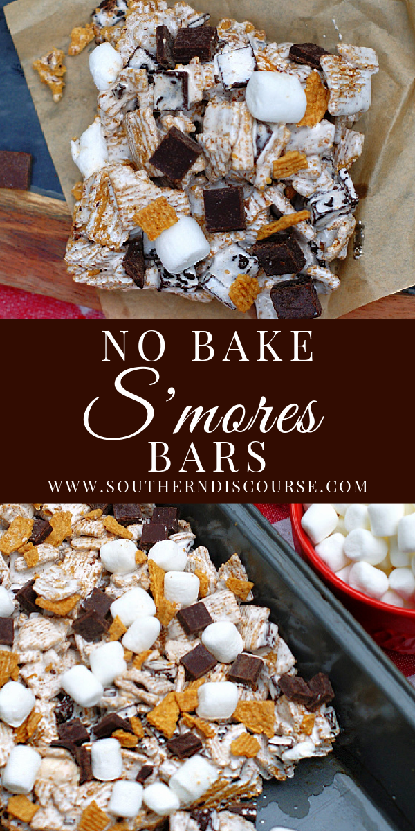 Enjoy gooey, chocolatey S'mores indoors anytime of the year with this easy no bake bars recipe using Golden Grahams cereal, chocolate chunks and mini marshmallows!