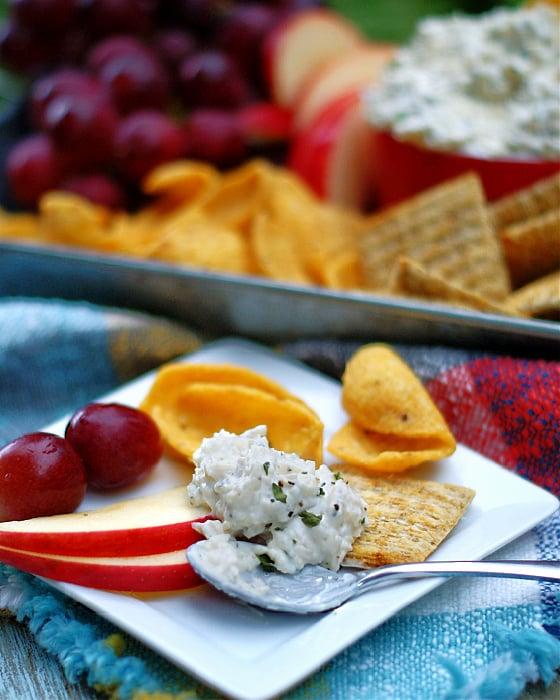 Creamy Peppercorn Parmesan Cheese Dip on a spoon