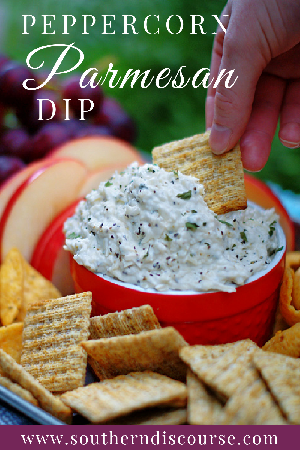 Sharp, rich Parmesan cheese & cracked black peppercorns come together with a little mayo, sour cream, cream cheese and spices to make a fabulously easy cheese dip that can be served hot or cold!
