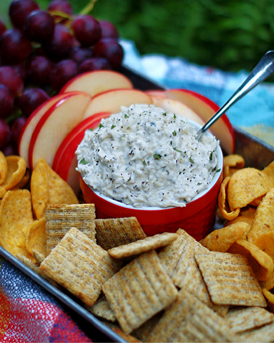 Creamy Peppercorn Parmesan Cheese Dip in a red bowl with crackers, chips and fruit