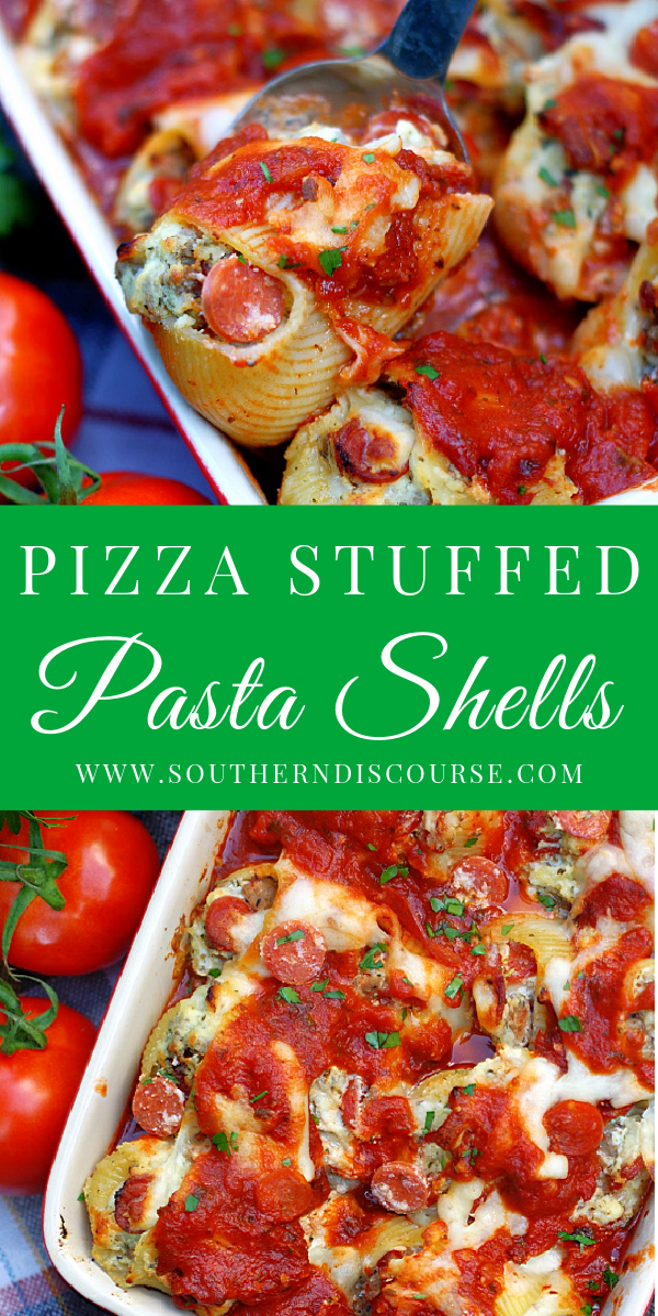 Delicious pasta filled with pepperoni, sausage, Ricotta, Mozzarella and Parmesan cheeses combines everything you love about your favorite pizza with the comfort of cheesy, sauce laden pasta in one easy recipe!