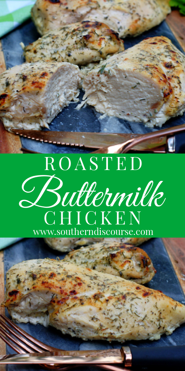 Wonderfully tender & moist, this easy Roasted Chicken is bathed in buttermilk & herbs then oven roasted for THE BEST boneless breast & thighs!