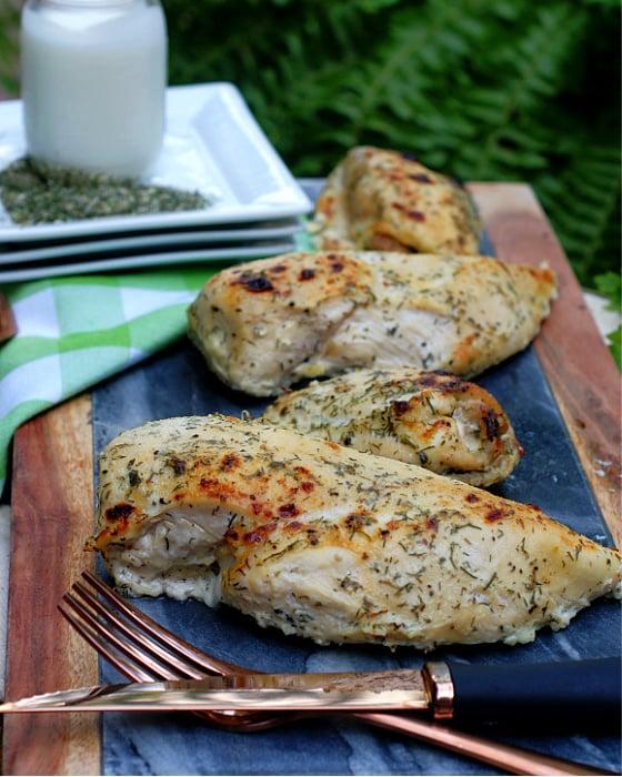 Tender Roasted Buttermilk Chicken before slicing