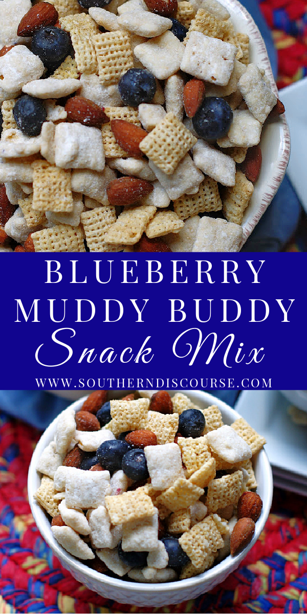 Made with creamy white chocolate & blueberry Muddy Buddies, salted almonds, crisp Rice Chex cereal and scrumptiously tart berries, this incredibly addictive snack is salty Chex mix and swoon worthy blueberry goodness all wrapped in one!