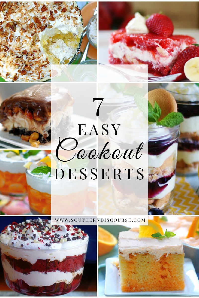 Get plenty of inspiration from these 7 deliciously dreamy, quick & easy cookout dessert ideas! Everything from trifles to poke cakes to layered jello salads-- We're talking perfect make ahead recipes for feeding a crowd at your backyard cookout, BBQ or next potluck.