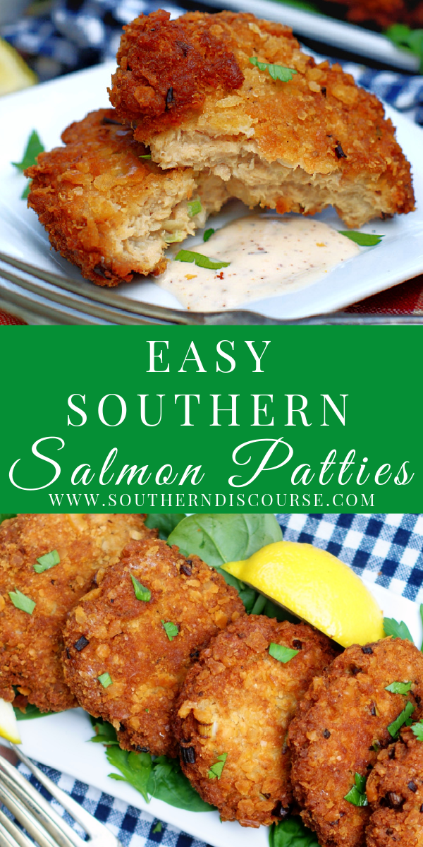 Making THE BEST Southern Salmon Patties couldn't be easier with this simple recipe for crispy, golden croquettes.  Whether you prefer southern fried or baked, I've got you covered.  You're going to love serving this tender salmon with loads of flavor and all your best family memories in a classic recipe done up right!