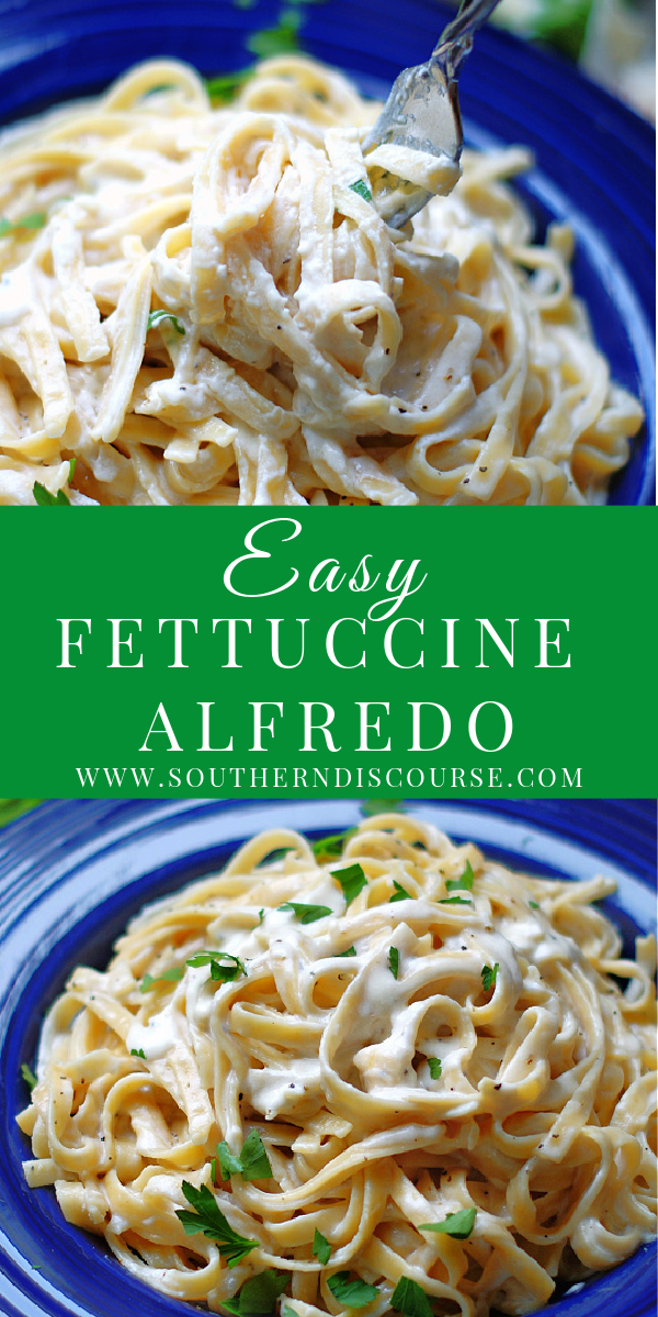 Creamy homemade Fettuccine Alfredo is an easy pasta side dish with this simple recipe that includes a 5 ingredient sauce of  salty Parmesan cheese, warm, melted butter, rich cream, savory broth and garlic. #creamynoodles