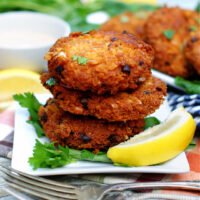 Easy Southern Salmon Patties stacked and ready to serve