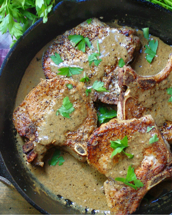 Skillet Pork Chops with Mustard Cream Sauce