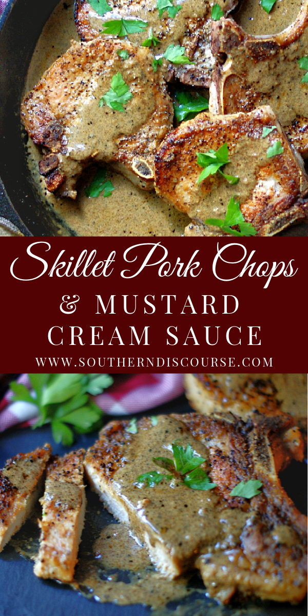 Enjoy juicy, tender bone in pork chops with this easy 10 minute cast iron skillet recipe! Simple to prepare for any night of the week. Topped with a creamy dijon mustard sauce. these are THE BEST pork chops!