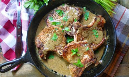 Skillet Pork Chops & Mustard Cream Sauce