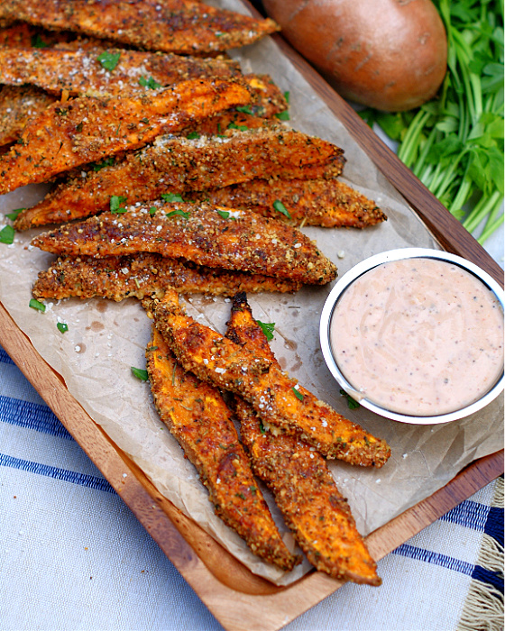 Garlic Parmesan Sweet Potato Wedges with dipping sauce