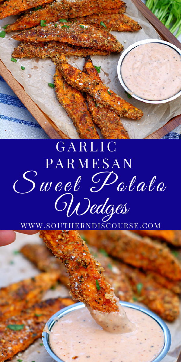Garlic Parmesan Sweet Potato Wedges are baked up with a seasoned, crisp outside right in your oven with this delicious, easy recipe!