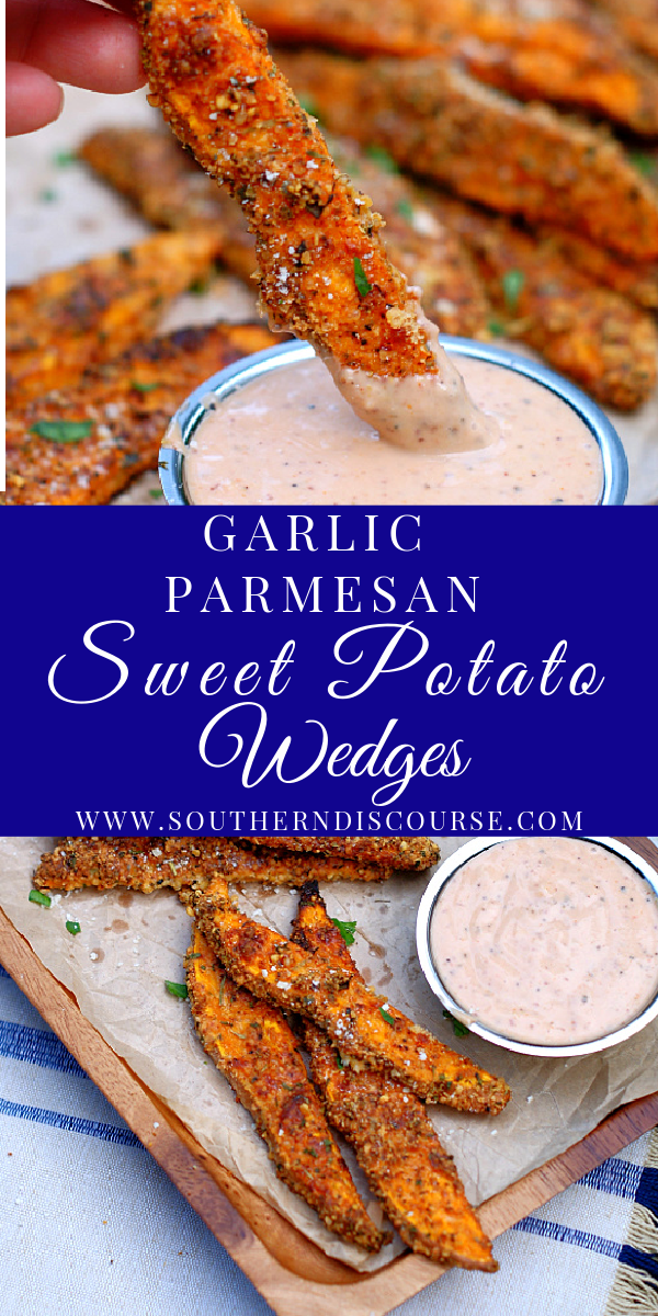 Add a little pizzazz to your side dish rotation with these baked Garlic Parmesan Sweet Potato Wedges. Their seasoned, crispy outsides and tender, mildly sweet insides are perfect for dipping at the dinner table, but can also pull double duty as an appetizer or hearty snack on game day.