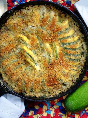 Southern Zucchini Squash Casserole in a cast iron skillet