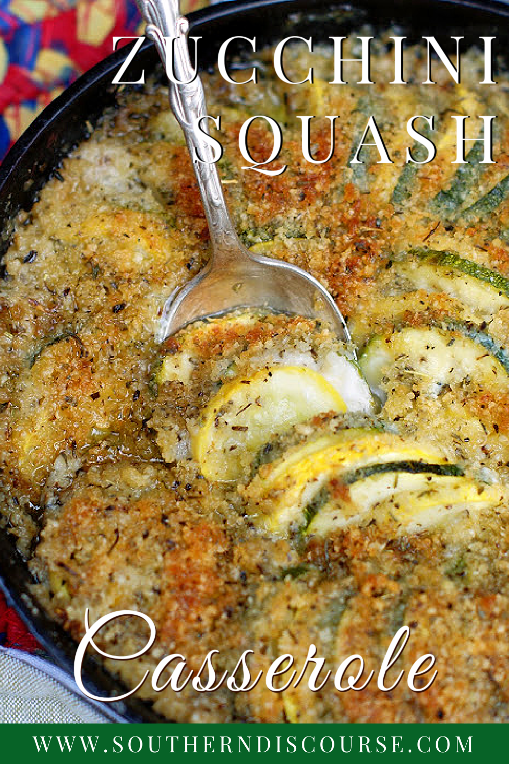 Tender zucchini and yellow squash baked in a creamy, savory sauce of mayo, chicken broth, garlic and spices, then topped with a crisp panko and Parmesan topping create a delicious side dish that's perfect for everything from holidays to cookouts! Southern Zucchini Squash Casserole