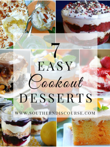 A collage of 7 desserts perfect for feeding crowds at a cookout or potluck.