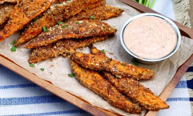 Garlic Parmesan Sweet Potato Wedges