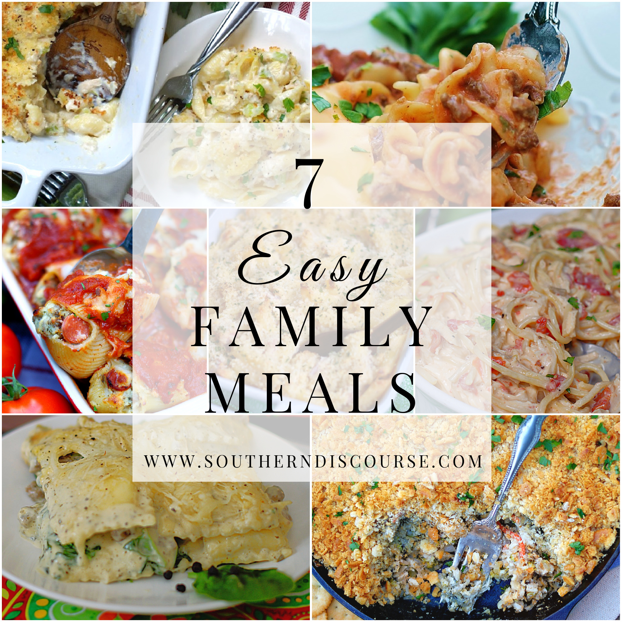 7 Easy family casserole meals title collage